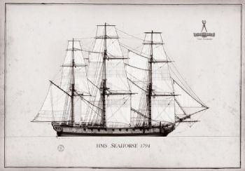 1794 HMS Seahorse pen ink study